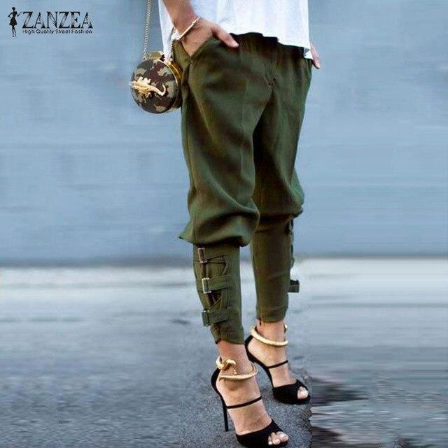 baf54a84537 Fashion Harem Pants 2018 Women Trousers Casual Loose Pockets Elastic Waist  Pants Leisure Army Green Pants