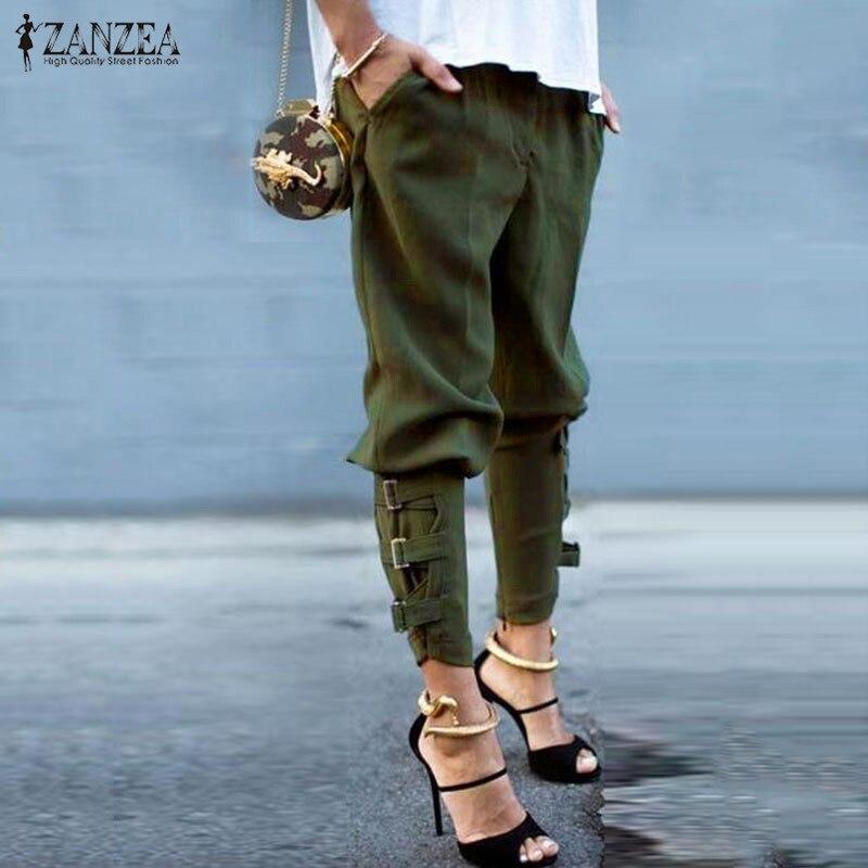 Moda Harem pantalones 2018 Pantalones mujer Casual bolsillos sueltos pantalones de cintura elástica ocio ejército verde más tamaño M-XL