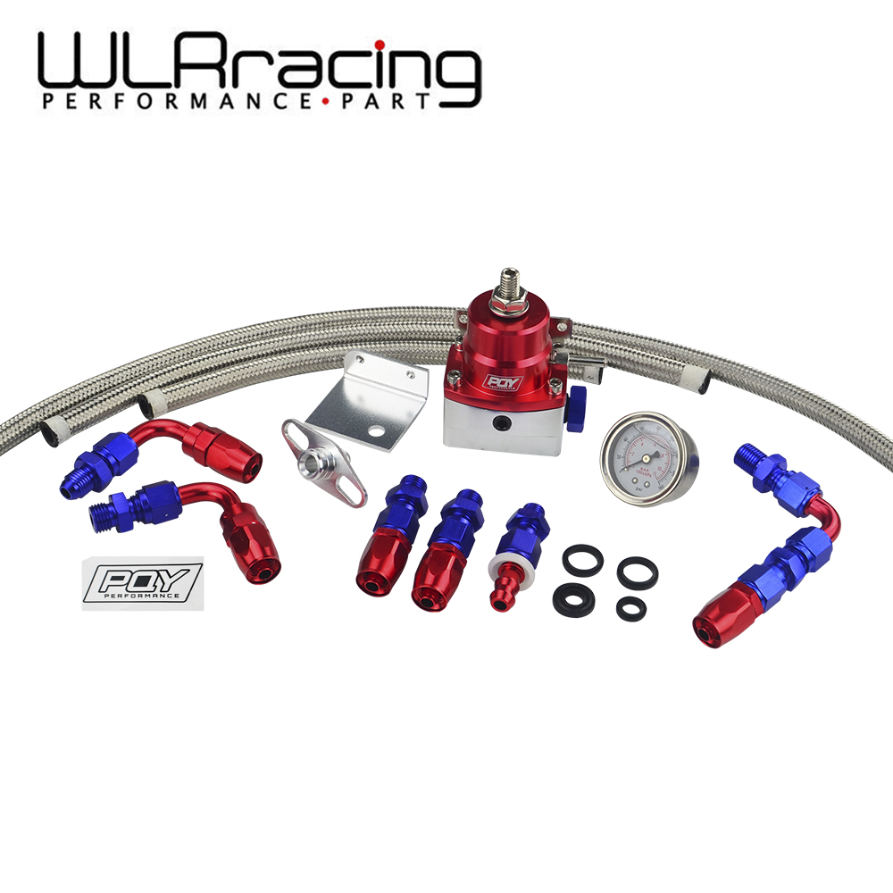 WLR RACING - Universal Adjustable Fuel Pressure Regulator Oil 160psi Gauge AN 6 Fitting End WITH/WITHOUT PQY LOGO + STICKER lzone racing black aluminium fuel surge tank with cap foam inside fuel cell 40l without sensor jr tk21bk