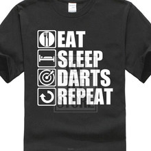 Vintage Tee Shirts With Sayings Crew Neck Graphic Short Sleeve Eat Sleep Darts Punk Gothic Shirts(China)