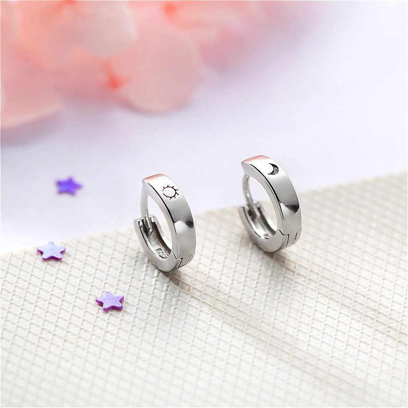 Fengxiaoling אמיתי 925 סטרלינג כסף פשוט כוכב ירח כסף עגילי חישוק לנשים באיכות גבוהה עכשווי תכשיטים