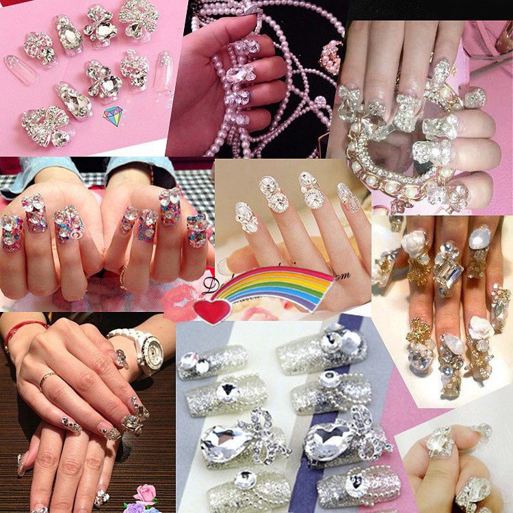 100pcs Hot Sale pointed back clear glass Nail Art Decoration Glitter ...