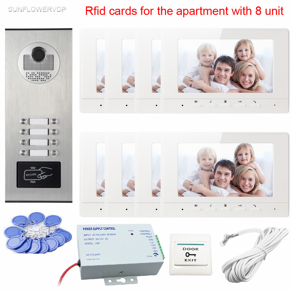 New Intercom Rfid Doorbell Camera With 8 Buttons Video Doorman House 7inch Color 8 Monitors Videophone For Residential Security