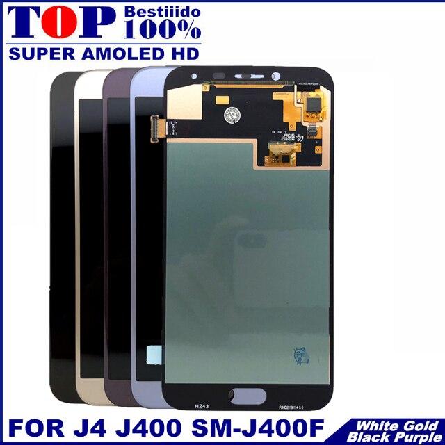 ل J400 AMOLED شاشات lcd لسامسونج غالاكسي J4 J400 J400F J400G/DS SM-J400F شاشة الكريستال السائل مجموعة المحولات الرقمية لشاشة تعمل بلمس استبدال