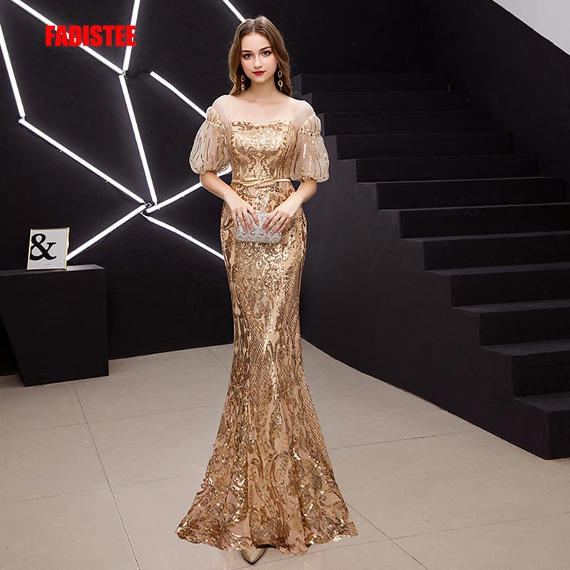 FADISTEE New Arrival Elegant Prom Dresses Vestido De Festa Gown Mermaid Robe De Soiree Half Puff Sleeve Sleeves Bling Sequins