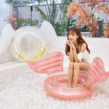 Sequin Inflatable Float Angel Shiny Wing 180cm Swim Ring Pool Toy Hawaii Summer Beach Party Decoration Mattress Gift Adult