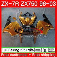 Cuerpo para Kawasaki Ninja ZX 750 zx-750 ZX 7R 96 97 98 99 3sh9 zx-7r 7 R zx750 zx7r superior oro Negro 1996 1997 1998 1999 Kit de carenado