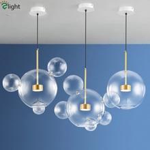 Nordic Unique Glass Bubble Led Pendant Light Clear Ball Metal Fixtures Indoor Lighting Lustre luminaire Lamp