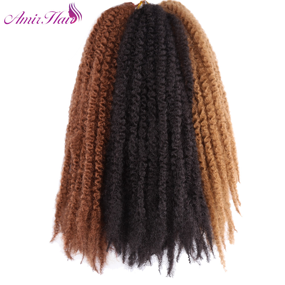 Amir Hair 18inch Synthetic Marley braids with Ombre Brown Purple Burgundy colors crochet braids braiding hair extensions