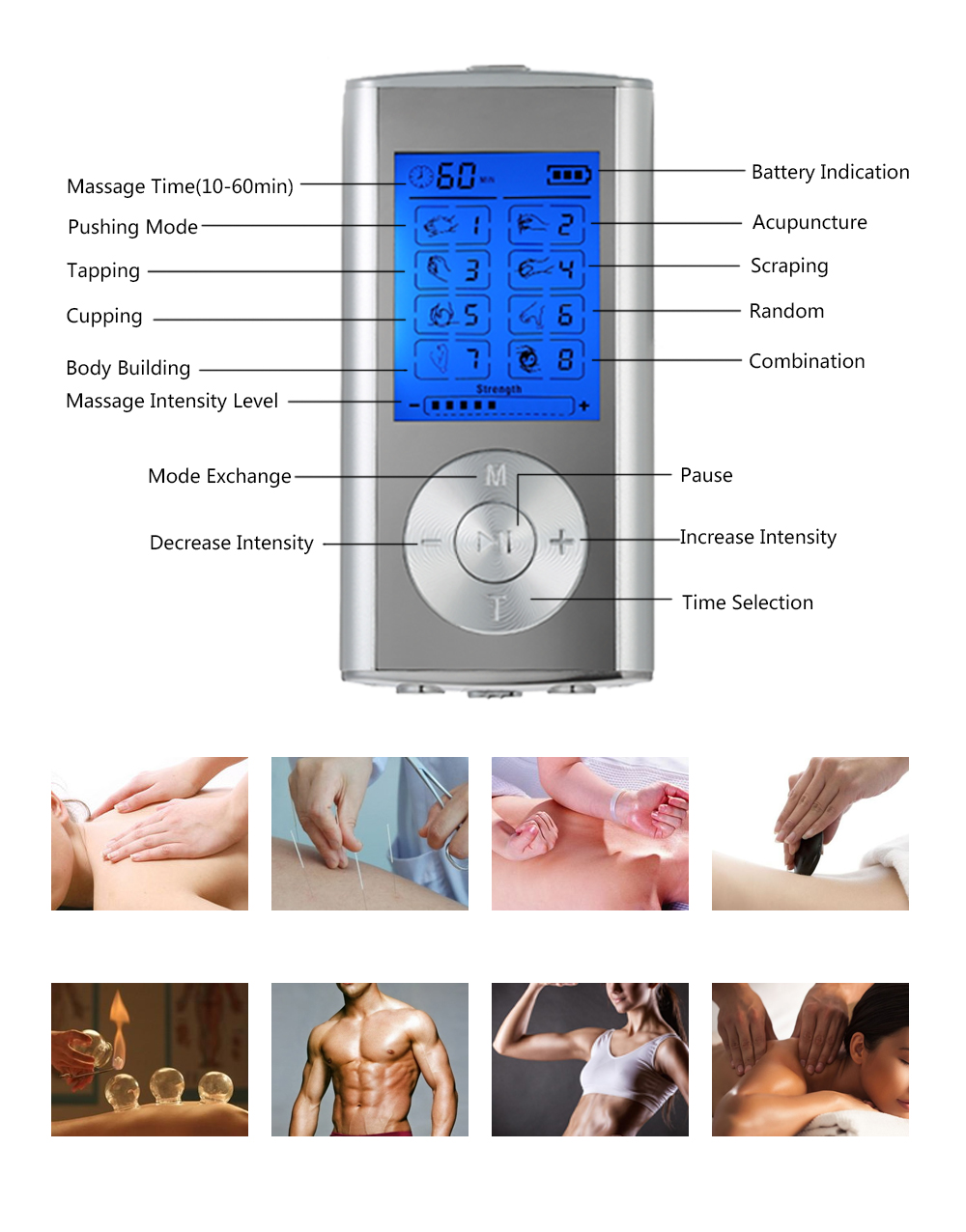 Image 3 - Carevas Massager Rechargeable Electric Pain Relief Machine 8 Modes Tens Unit Portable Pulse Massager Muscle Stimulator Therapy-in Massage & Relaxation from Beauty & Health