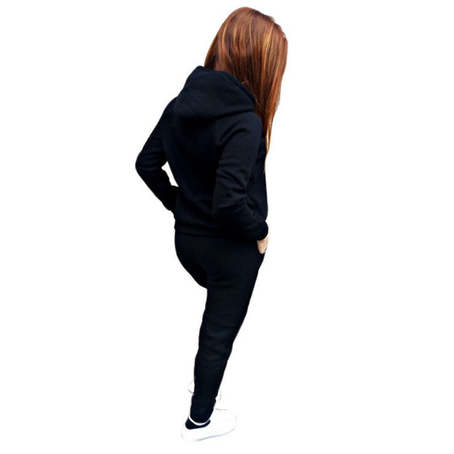 2020 Autumn Winter Two-piece Tracksuit Jogging Suits For Women Sport Suits Black Gray Hooded Running Set Sweat Pants Jogging Set 3