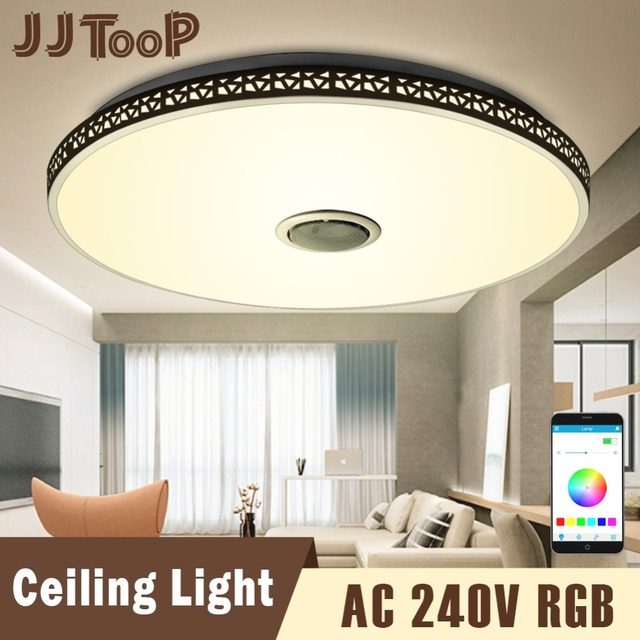 Modern Bluetooth Speaker Ceiling Light Remote Control Rgb Led Dimmable Music Lamp Living Room Lighting Fixture