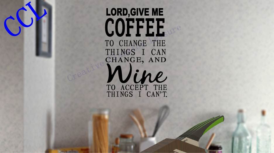 Online shop free shipping lord give me coffee wine kitchen restaurant wall decal vinyl letter