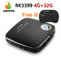 Nova CSA96 RK3399 Hexa Núcleo 4G/32G 4 K 10 Bit Caixa de TV Android 6.0 802.11AC WI-FI Gigabit LAN Tipo C + Free i8 Rato Ar