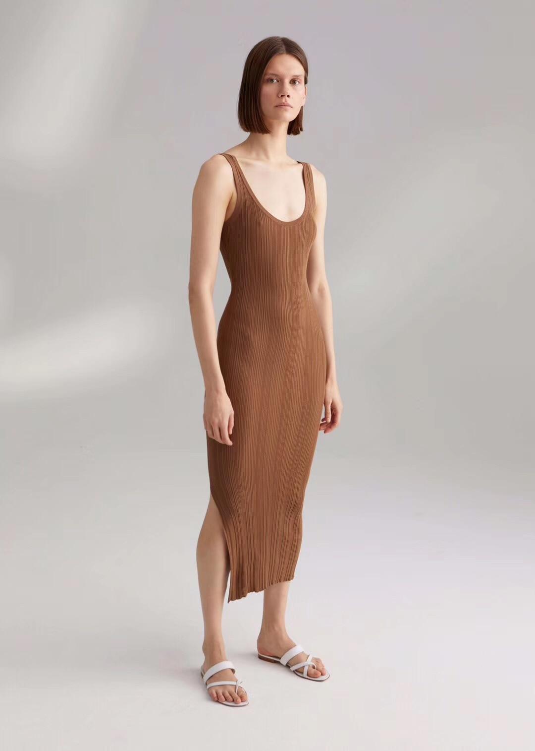 Vestido midi de mujer de verano con cuello en V sin mangas-in Vestidos from Ropa de mujer    3