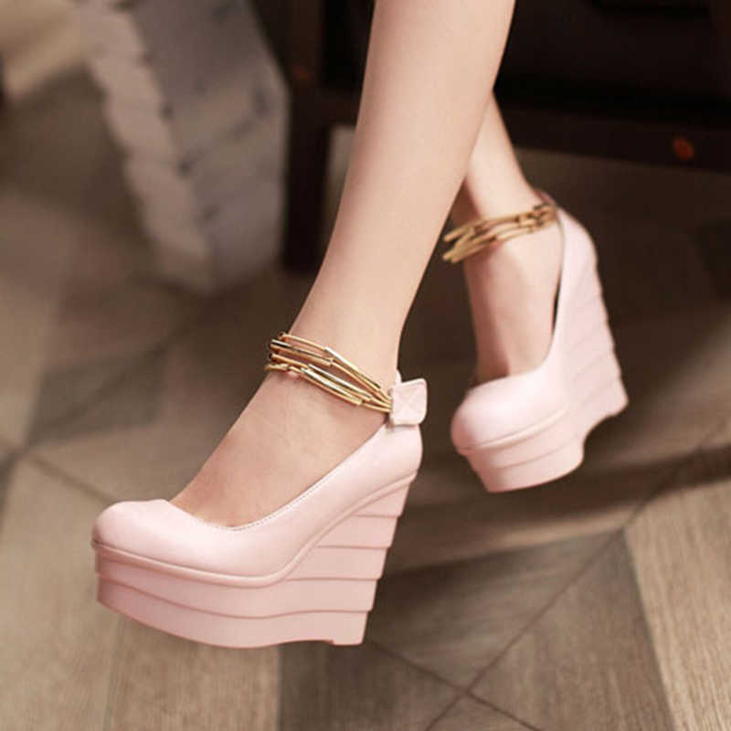 ENMAYLA Women Pump Cone Heels Round Toe Platform Pumps Wedges Fashion for Party Size 34-39 Three Colors Women Shoes for Ladies