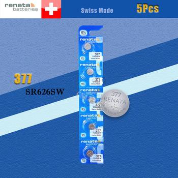 5 sztuk partia detaliczna Brand New Renata długotrwałe 377 SR626SW SR626 V377 AG4 zegarek baterii przycisk monety komórki szwajcarski wykonane 100 oryginalny tanie i dobre opinie 24mAh 1 55V 6 8x2 6mm Tlenek srebra