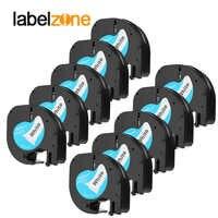 10 Pack 12mm * 4 m 12267 91201 Label Bänder Kompatibel DYMO LetraTag LT-100H Label Maker 92102 91203 91204 91205 91208