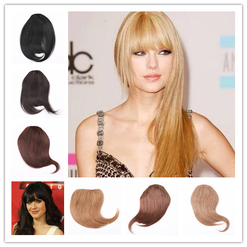 Clip In Fringe Black HumanHair Extensions Neat Bangs Front Hair Women Remy Fake