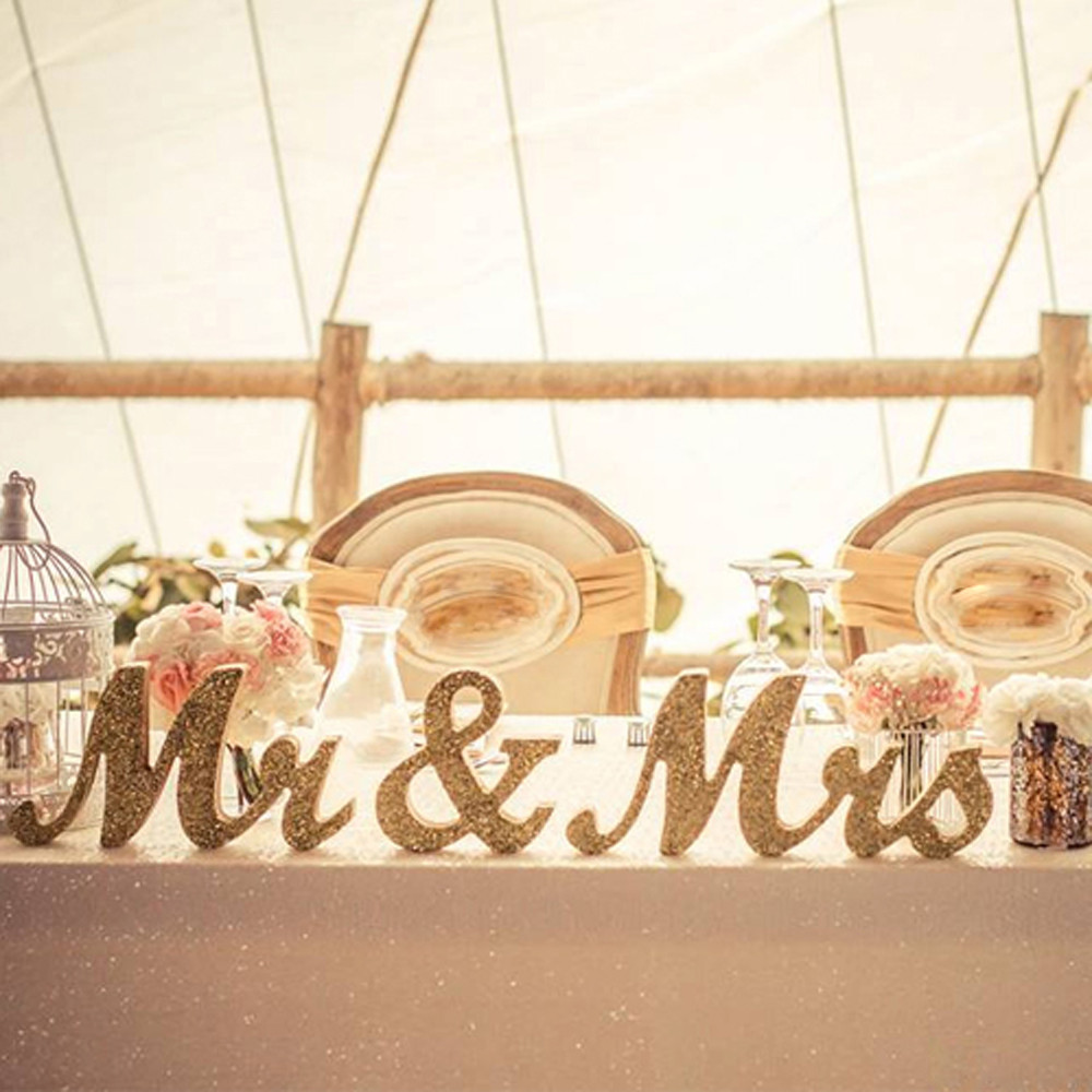 MR & MRS Wooden Letters Wedding Decoration Present Props Table ...