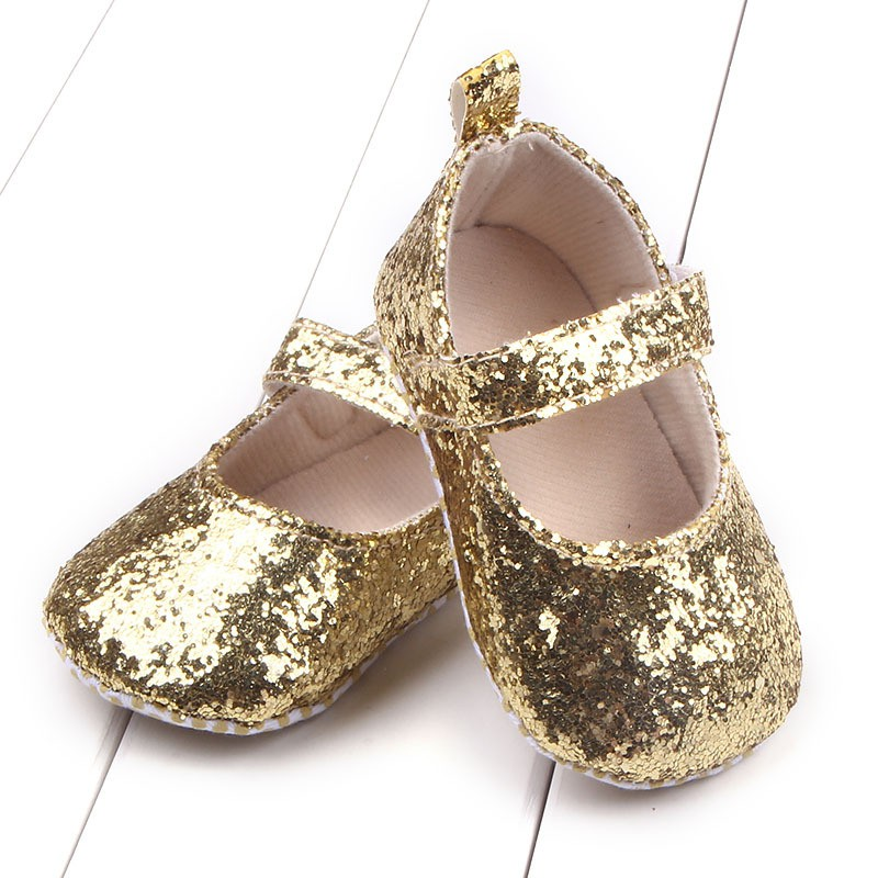 Todder Baby Shoes Sequins Soft Bottom Baby Girl Shoes First Walkers Hook & Loop Toddler Prewalker Crib Shoes A