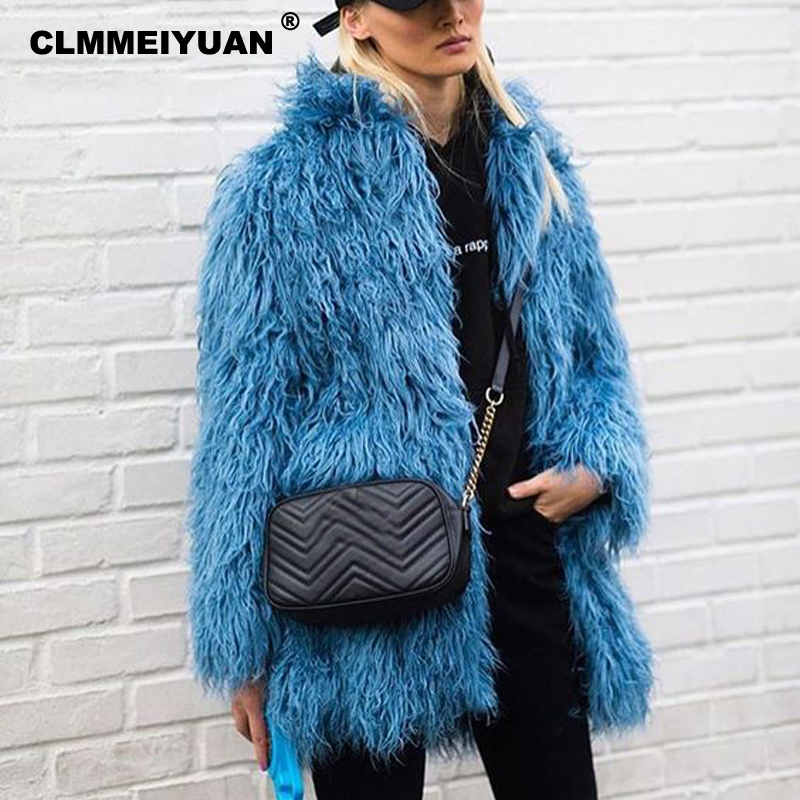 Mongolia Sheep Faux Fur Coat Women Fashion Elegant Pink Long Fur Coat 2018 Autumn Winter Women