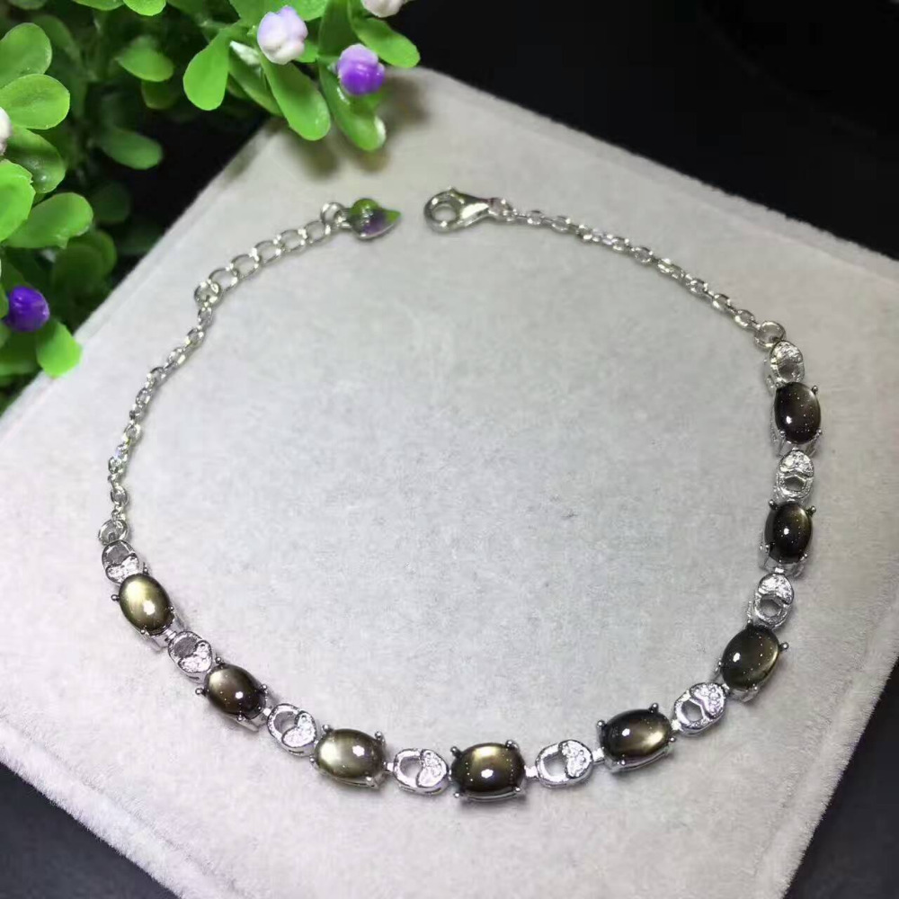 natural black sapphire stone Bracelet Natural gemstone bracelet S925 silver fashion luxurious Elegant lock women party jewelry все цены