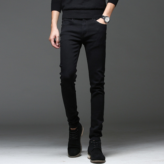 45a9bfc7eee New 2018 Black Men Jeans Korean Style Fashion Mens Skinny Jeans Pants  Fashion Casual Denim Trousers Man Stretch Slim Jeans Male