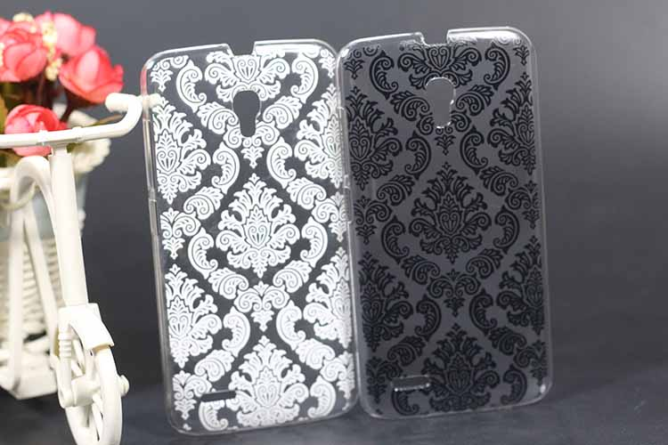 Luxury DIY Vintage Black & White Paisley Flower Cover Case For <font><b>Alcatel</b></font> One Touch Pop 2 7043A 7043Y <font><b>7043K</b></font> 7044 Premium LTE case image