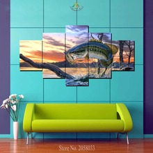 купить 3 or 5 Pieces Jumping Fishes Modern Wall art for Home Decoration Cheap Artwork Framed Art Paintings Canvas Prints Painting онлайн