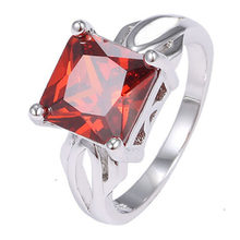 2018 Fashion Women's 925 Cubic Square Garnet Ring Solitaire Love Gift(China)