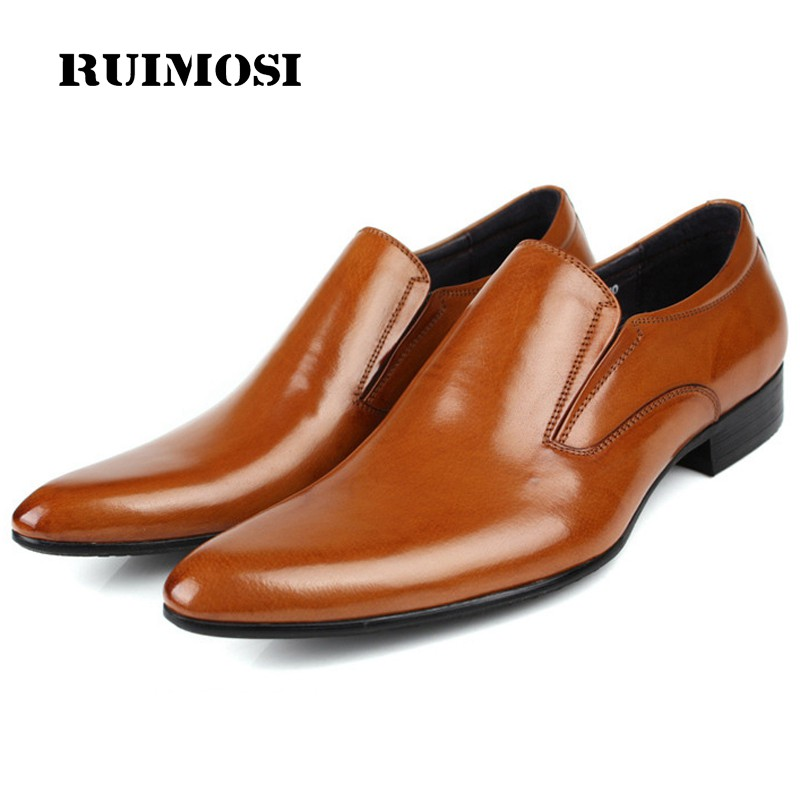 RUIMOSI New Arrival Luxury Man Casual Shoes Genuine Leather Loafers Formal Brand Pointed Toe Slip on Men's Handmade Flats CA76