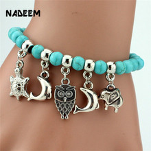 Vintage Turquoise Stone Beads Owl Elephant Bird Pendant Bracelet Fashion Hand Cross Charm Bracelet Women Jewelry Pulseras RB2799 vintage layered owl beads bracelet for women