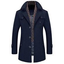 2018 Осенне-зимняя обувь Повседневная Деловая Мужская пальто утепленная куртка шарф воротник ветровка тонкий съемный пальто мужские