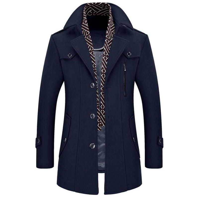 2018 Outono e inverno dos homens de negócios casuais jaqueta casaco espessamento cachecol gola blusão destacável Fino do Sobretudo dos homens