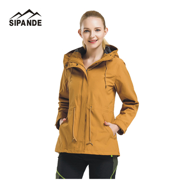 2017 Spring Autumn Women's windbreaker Hiking Jackets Outerwear Sport Hoodied Camping Trekking warm Coats