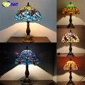 Vintage Estilo Clássico Candeeiro de Mesa De Vidro Manchado Libélula Tiffany Lâmpada de Casamento Decoração Da Lâmpada Sala de estar Do Hotel Luminária