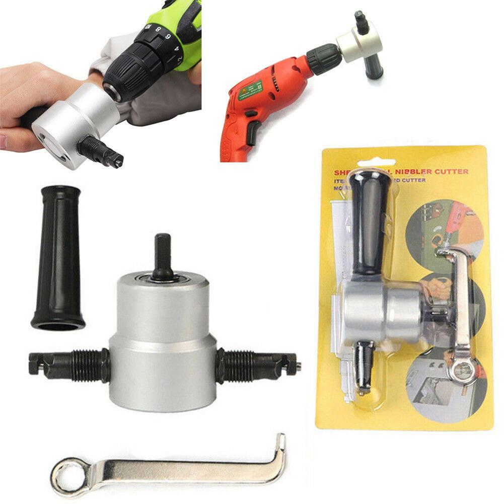 Adeeing Double Head Sheet Metal Nibbler Saw Cutter Cutting Tool Power Drill Attachment