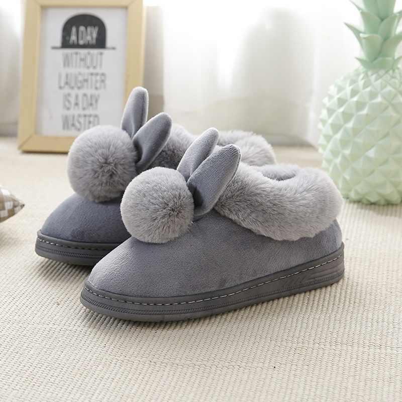 Oeak (transporte da gota) feminino Chinelos de Algodão Inverno Chinelos Casa Coelho da Pele Das Mulheres Fundo Grosso Quente Sapatos De Algodão Interior Encantador