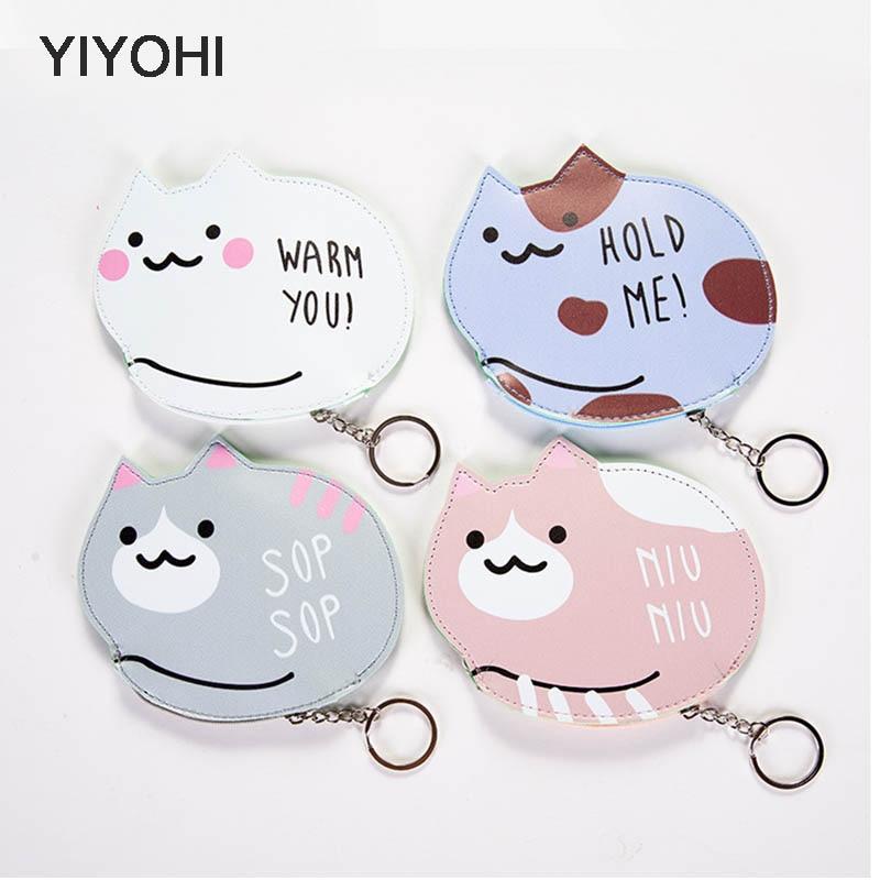 YIYOHI Kawaii Animals PU Cute Bear Girls Zipper Plush Square Coin Purse Children Coin Bag Women Mini Wallets With Key Chain