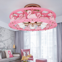 Cartoon Creative Swan ceiling lamp Girl Bedroom Princess bedroom children room light modern personality pink LED ceiling lamp