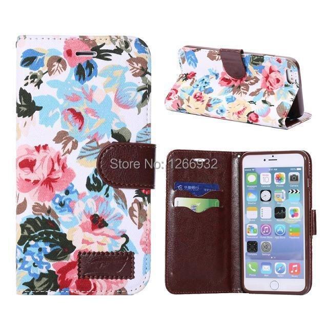 63f6986c17d7f Dla Apple iPhone 6 Plus (5.5 cal) prawdziwy Kwiat Kwiatowy Wieś Tkaniny  Klapki Skóra Back Cover Portfel Stojak Holder Case