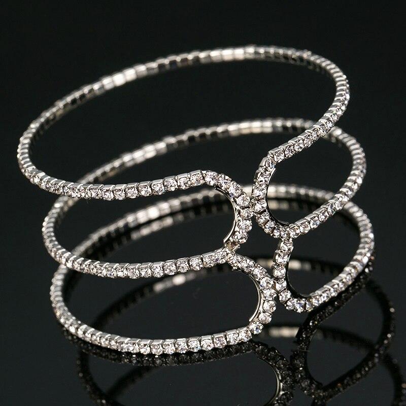 2016 Original Design Multi-circlrs Full Rhinestones Bangle Bridal Party Bracelet Charm Queen Bracelet Jewelry #B084
