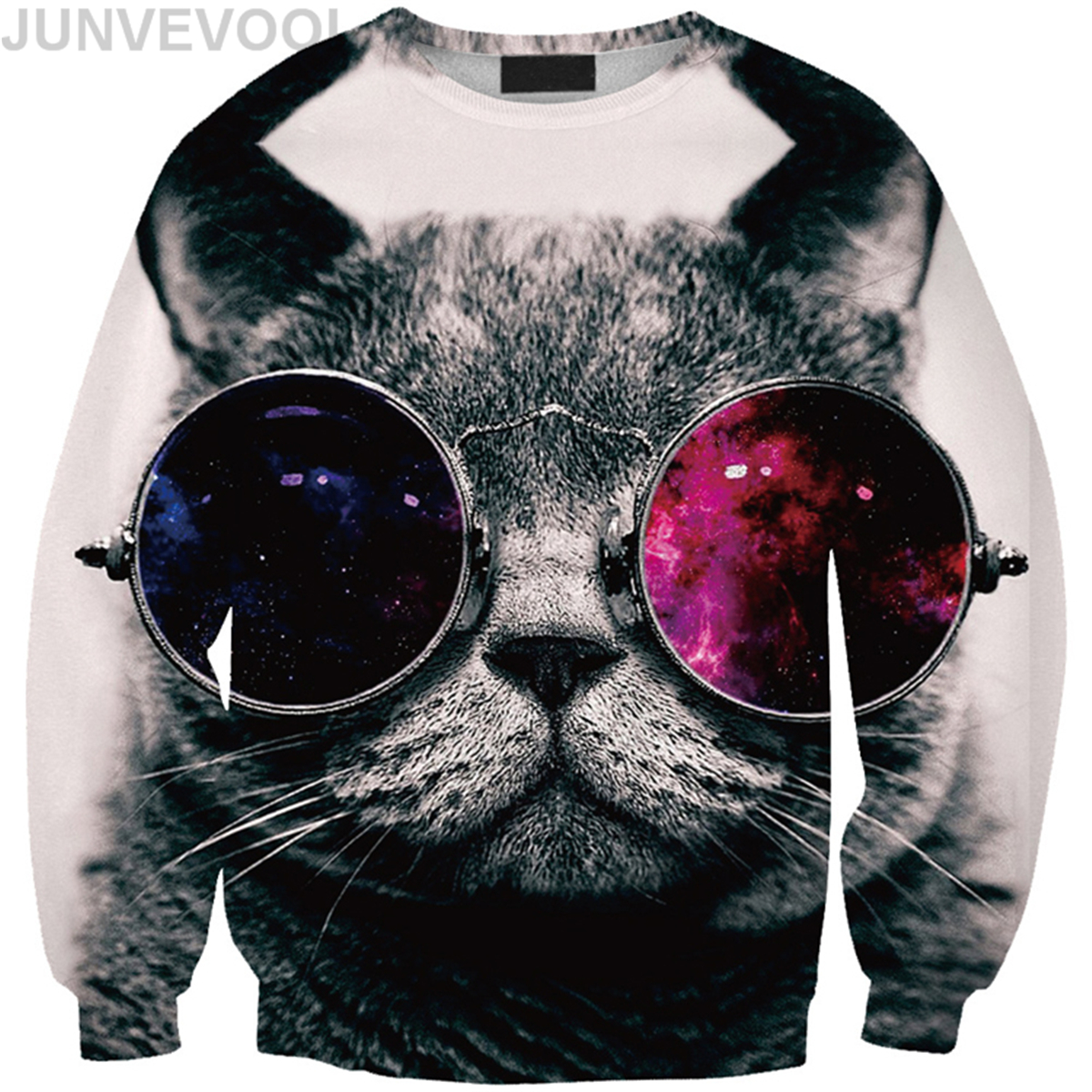 Cool Cat Digital Printed Hoodies Women Elegant O Neck Tees Ladies Long Sleeve Vogue Hoodies Fashion Hot Sale Newly Tops Clothing