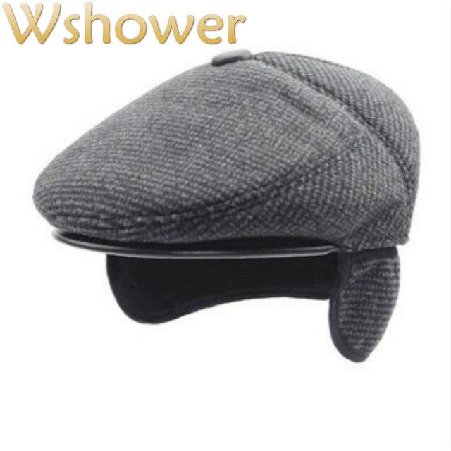 6eda6170a3404 Que en la ducha viejos hombres oreja boinas invierno gruesa TELA ESCOCESA  caliente sombrero de invierno