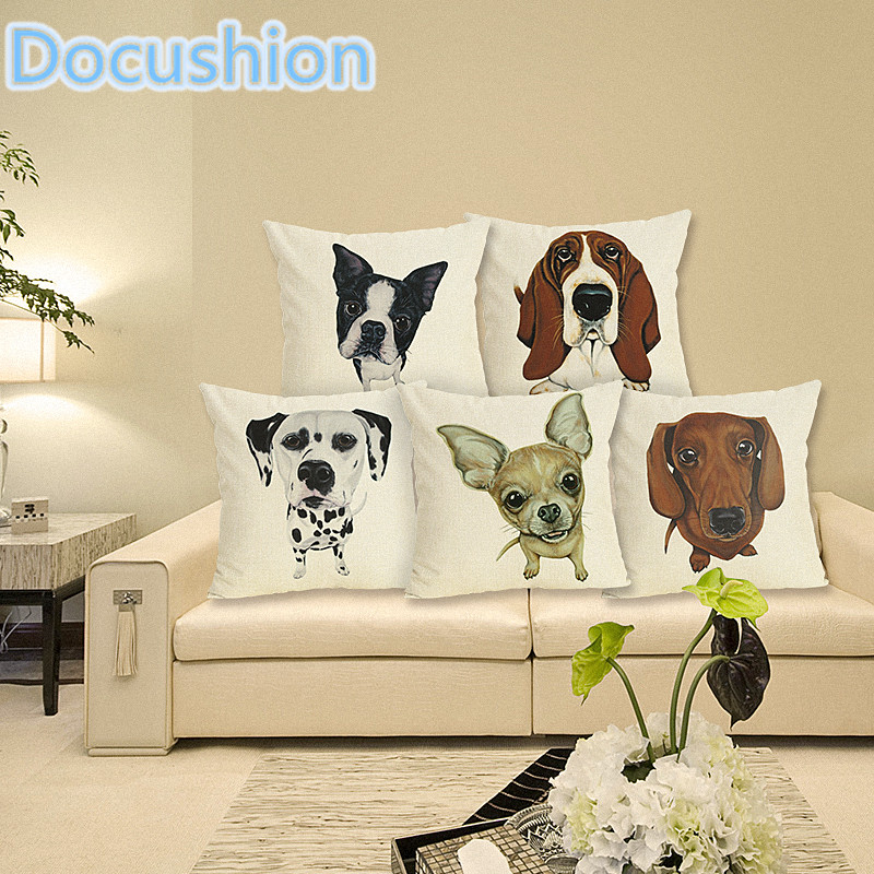 Home Decor Cojines French Buldog Printed Cushion Case Sofa Cushion Pillow Case  Linen  Pillow Cover Decorative Cushion Cover