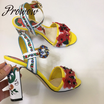 Prowow New Genuine Leather Elegant Floral HIgh Heel Sandals open Toe Printed Totem Sandals Shoes Women