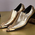 Men shoes luxury brand wedding genuine leather mens pointed toe dress shoes gold grey iron toe form men loafers size12