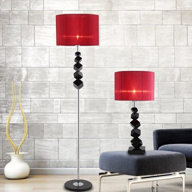 Lamp Shade Round Floor Lamps European Luxury Creative Modern Black Crystal Table Bedroom Living Room