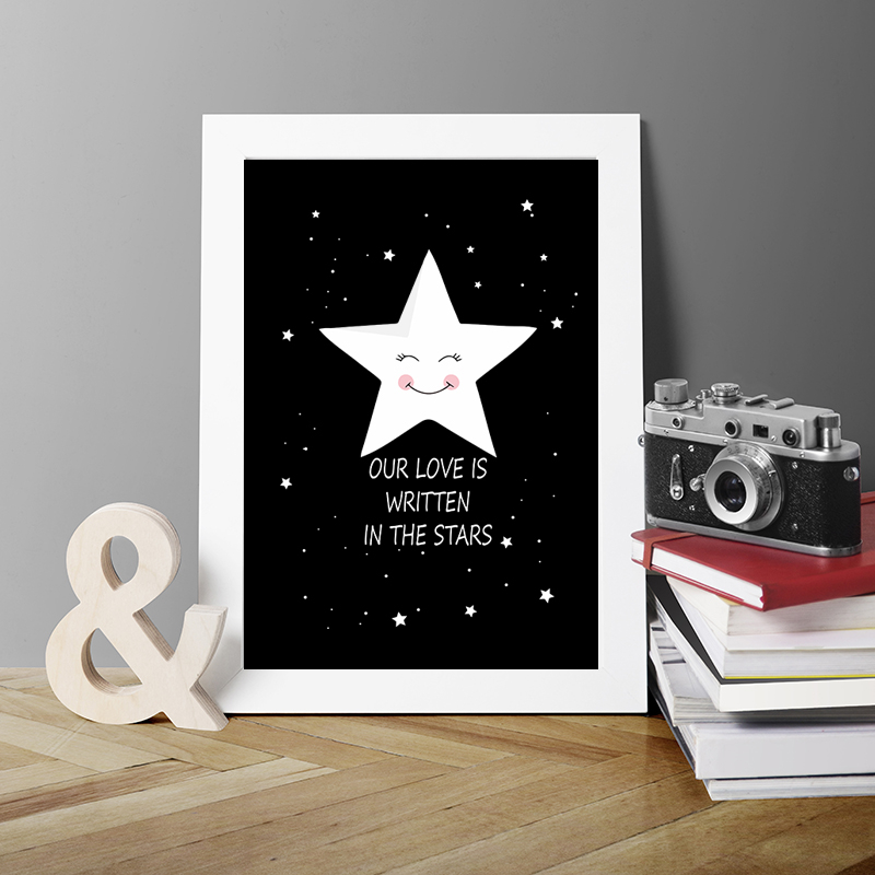 Quote Our Love Is Written In The Stars Canvas Art Print Poster Wall Picture Oil Painting Bedroom Decoration Decor Frameless Calligraphy